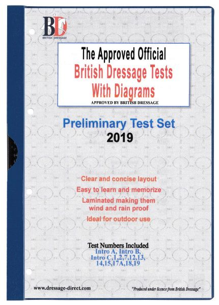 2019 PRELIMINARY TEST SET Intro A, Intro B: Official Laminated British Dressage Tests with Diagrams
